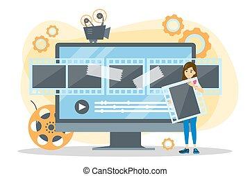 concept., 과정, 영화, 비디오, 생산, 영화관