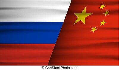 concept., 단일, 사이의, 나라, 동의, 협정, 계약, russian., 정치, 러시아, 중국어, 협력, flag., 조합 계약, 중국