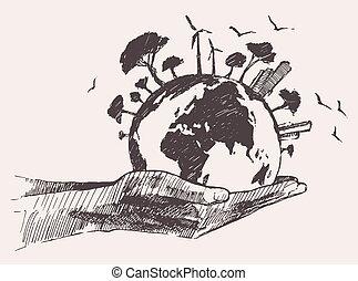 concept., 손, 나무, 녹색의 지구, 세계