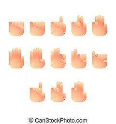 concept, 10, ensemble, nombre, langue, icônes, gradient, isolé, illustration, signe, eps, vecteur, conception, doigt, blanc, main, dénombrement, fond couleur