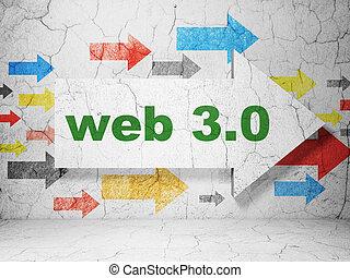 concept:, 3.0, fondo, web, grunge, sviluppo, parete, freccia