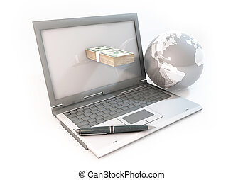 Concept 3d abstract Business online in Computer with 100 dollar bill and world on white Background