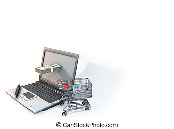 Concept 3d abstract Shopping cart with 100 dollar bill in Computer on white background