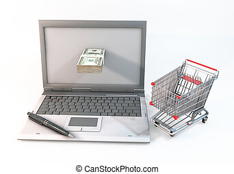 Concept 3d abstract Shopping cart with 100 dollar bill in Computer