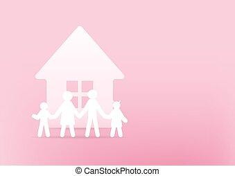 concept., 3d, dom, różowy, tło., szczęśliwy, papier, rodzina