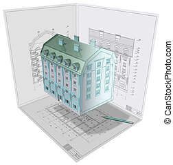 Concept. - 3D isometric view the residential house on...
