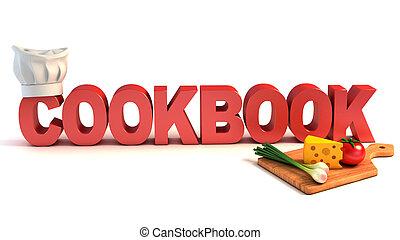 concept, 3d, livre cuisine