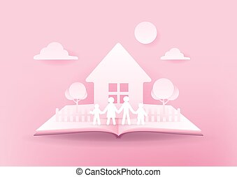 concept., 3d, maison, rose, livre ouvert, arrière-plan., family., papier, famille heureuse
