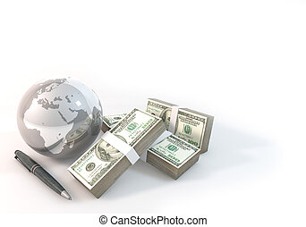 Concept 3d rendering 100 dollar Money of Business world on white background