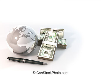 Concept 3d rendering 100 dollar moneyof Business with world white background