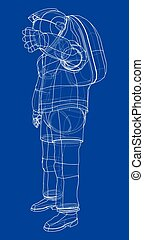 concept., 3d, vector, interpretación, astronauta