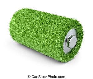 Concept a net energy. Battery from grass
