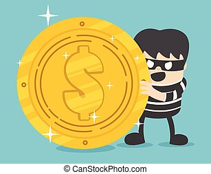 Concept a thief with big coin stack design. Internet hacking finance fraud. Modern vector character illustration flat design.