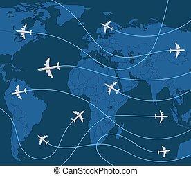 concept., abbildung, vektor, welt, motorflugzeug, reise