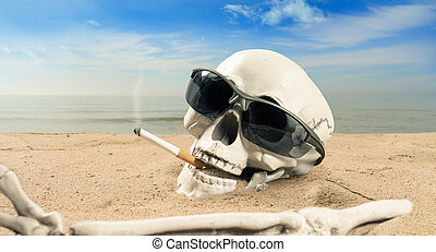 concept about cigarette addiction a skeleton with a cigarette