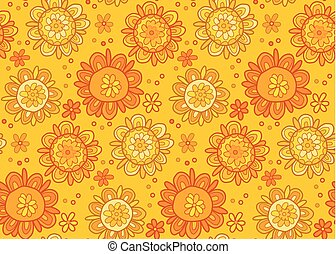 Concept abstract floral vector illustration. Stylized marigold flowers in pale pastel color. Seamless pattern.