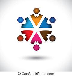 concept, abstract, samen, activiteit, children(kids), gebouw, circle-, groep, iconen, kinderen, ook, graphic., vriendschap, kleurrijke, illustratie, vertegenwoordigt, dit, veelkleurig, enz., vector, team, spelend