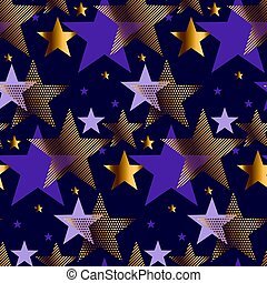 concept abstract starry night vector illustration. modern style factive star seamless pattern. luxury purple violet color background image. gold star graceful repairable motif
