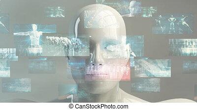 concept abstrait, fond, technologie, numérique, ligne