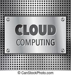 concept abstrait, nuage, fond, calculer