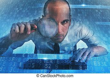concept, accès, porte arrière, homme affaires, computer., internet, trouvé, sécurité