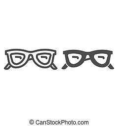 concept, accessoires, concept, toile, icône, graphics., contour, mobile, vecteur, lunettes, style, ligne, blanc, lunettes soleil, design., lunettes, signe, été, solide, fond, icône