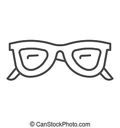 concept, accessoires, concept, toile, icône, graphics., contour, mobile, vecteur, lunettes, style, ligne, mince, blanc, lunettes soleil, design., lunettes, signe, été, fond, icône