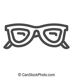 concept, accessoires, concept, toile, icône, graphics., contour, mobile, vecteur, lunettes, style, ligne, blanc, lunettes soleil, design., lunettes, signe, été, fond, icône