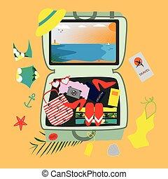 concept., accessoires, illustration, travel., valise, fetes, plage
