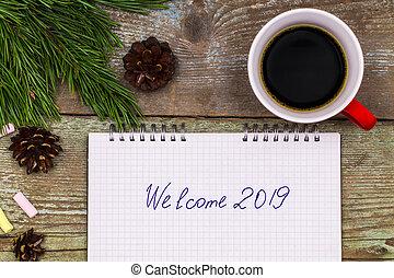 concept., accueil, cahier, écriture, bois, 2019, année, nouveau, table