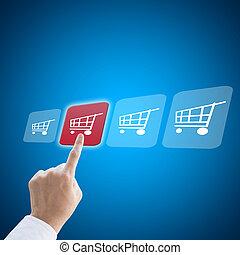 concept, achats, business, fonctionnement, main, e-commerce, homme