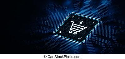 concept, achats, business, ligne, e-commerce, technologie internet
