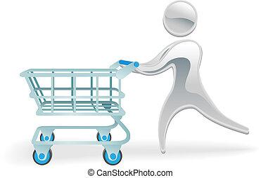 concept, achats, caractère, charrette, métallique, trolly