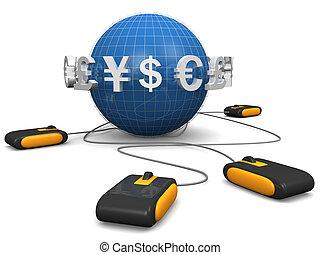 concept, achats, e-commerces, monnaie, ligne, international