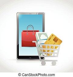 concept, achats, illustration, ligne
