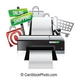 concept, achats, imprimante, ligne