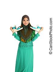 concept, achats, mode, musulman, jeune, islamique, action., femme, chaussure, joli, habit, posses, asiatique