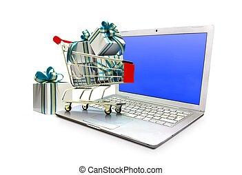 concept, achats, ordinateur portable, charrette, dons, ecommerce