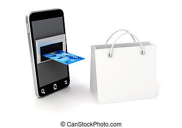 concept, achats, téléphone, mobile, carte, crédit, ligne, 3d