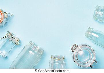 concept, achats, variété, bouteilles, verre, zéro, pots, gaspillage