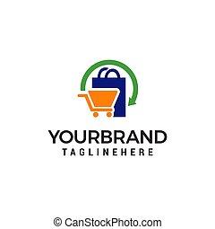 concept, achats, vecteur, conception, gabarit, logo