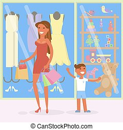 concept, achats, vente, famille