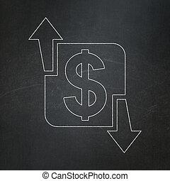 concept:, achtergrond, financiën, zakelijk, chalkboard