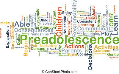 concept, achtergrond, preadolescence