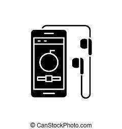 concept, achtergrond., vrijstaand, illustratie, meldingsbord, speler, vector, black , pictogram, symbool, audio