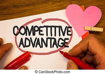concept, advantage., compétitif, crochet, papier, humain, qualité, posséder, rose, heart., mener, champ, stylo, noir, texte, vous, rouges, main, signification, mots, entouré, volonté, assurer, retenir, écriture, rivet