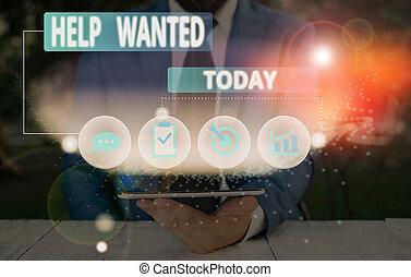 concept, advertentie, papier, nieuw, plaatsen, werkgever, schrijvende , vinden, employee., helpen, betekenis, wanted., handschrift, tekst