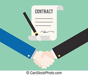 concept, affaire affaires, réussi, contrat, secousse main, stylo