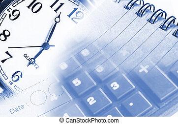 concept affaires, à, calculatrice, horloge, et, documents