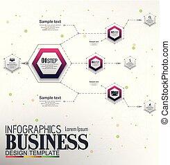 concept, affaires 4, gabarit, infographics, options